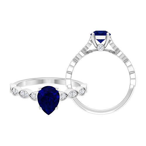 Anillo de zafiro azul corte pera 6x8 mm, anillo moissanita, anillo de lágrima, anillo de oro rosa macizo, anillo solitario con anillo de piedra lateral, 14K Oro blanco, zafiro azul, Size:US 54