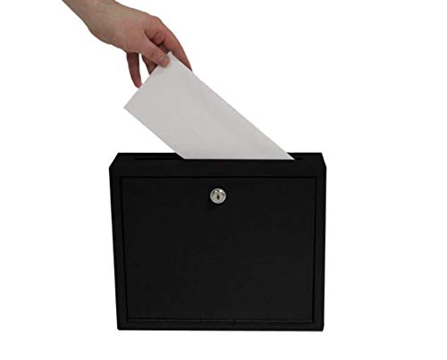 """AdirOffice Multi Purpose Mail Box with Lock - Heavy Duty Drop Box - Commercial Suggestion Box -Wall Mountable Safe and Secure Ballot Box - 3"""" x 10"""" x 12"""" - Black"""