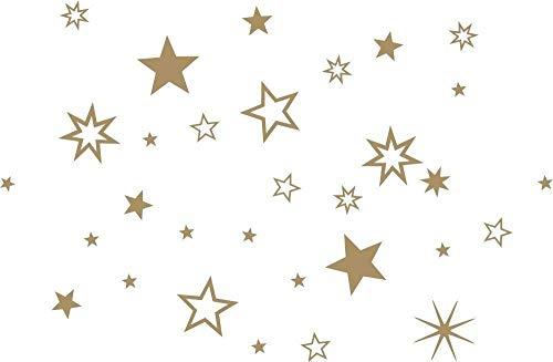 90 Stück goldene Sterne Aufkleber Fensterdekoration zu Weihnachten Fensterbild/Fensteraufkleber, Wandtattoo Weihnachtsdekoration 70001