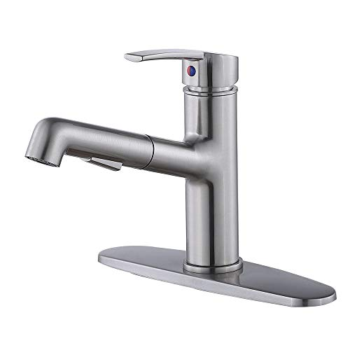 IKEBANA Modern Single Handle Brushed Nickel Kitchen Faucet,Best Stainless Steel Small Pull Down Kitchen Sink Faucet,One Or Three Hole Prep Pull Out Sprayer Faucets with Deck Plate (1 or 3 hole)
