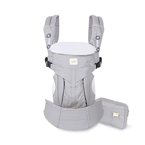 SONARIN Porte-bébé Convertible Premium,avec sac de rangement,Capot Écran solaire, Ergonomique,pour Nouveau-né à tout-petit (0-48 mois),charge maximale 20 kg,Support de tête,Idéal Cadeau(Gris)