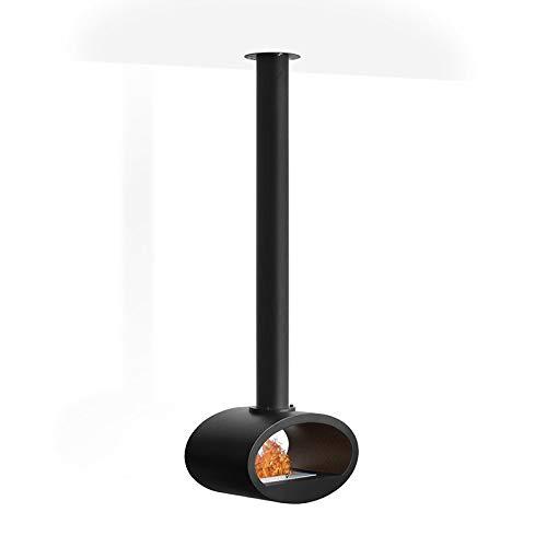 Wikao Ellipse - Noir Grand modèle (h. 219cm), cheminée éthanol (poele Bio,Mural,Grande,XXL, Grand poele Bio)