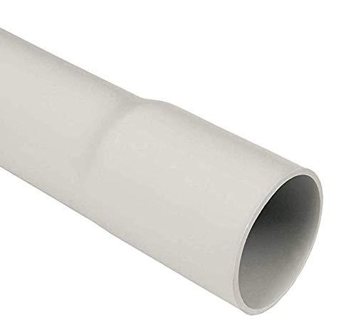 Elektroinstallationsrohr mittel starres Rohr mit einseitig Angeformter Muffe IRL - Länge 2m wahlweise mit Schellen, grau RAL7035 (Rohr Ø 25mm, 20 St. volle VE)