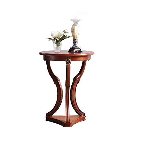 Xiaolin Table D'appoint Table De Nuit Table Lumineuse - Table Basse Ronde avec Tablette Inférieure Table D'appoint en Bois Massif
