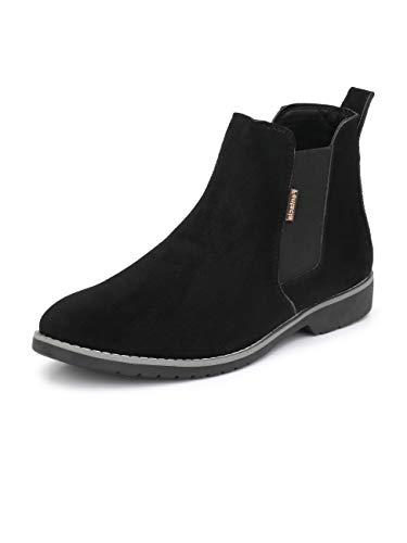 FENTACIA Men Synthetic Suede Chelsea Boots (black1, Numeric_10)