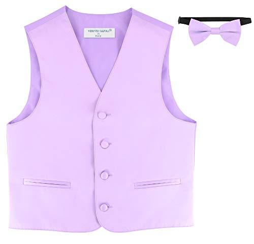 BOY'S Dress Vest & BOW TIE Solid Lavender Purple Color BowTie Set size 8