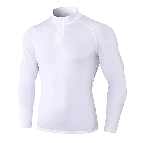 Camisetas de Fitness Hombre Compresión Ropa Deportiva Manga Larga Base Layers para Running, Correr, Gym, Fitness,Ciclismo Blanco XL