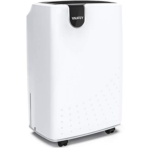 yaufey 1500 Sq. Ft Dehumidifiers for Home and Basements, with Continuous or Manual Drainage, Intelligent Control Quietly Removes Moisture