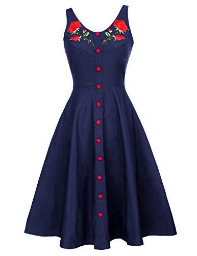 Womens Vintage Midi Dress A-line Cocktail Party Tank Dress S BP377-2