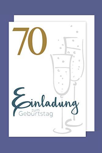 AvanCarte Einladungskarte 70 Geburtstag 5er Set Gold-Druck Sekt 5 Karten 15x11cm