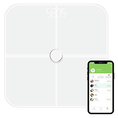 NK-Bascule-BT Báscula de baño Inteligente con Bluetooth|Básculo Digital| Display LED |Analiza más de 10 Funciones| Alta precisión| Sincroniza con App |Color Blanco