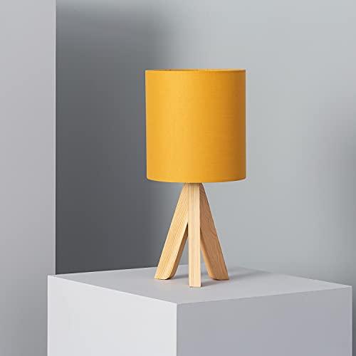 LEDKIA LIGHTING Lámpara de Mesa Kanuni 385x180x180 mm Mostaza E14 Casquillo Fino Madera Decoración Salón, Habitación, Dormitorio