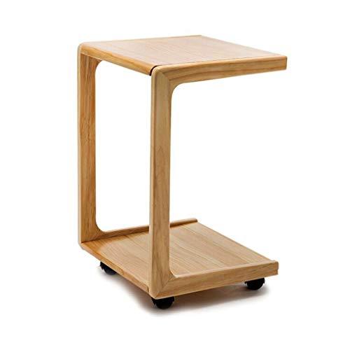 Wz Bois Table D'appoint, en Forme De U pour Salon Chambre Table À Café avec roulettes 58X39X34.5CM