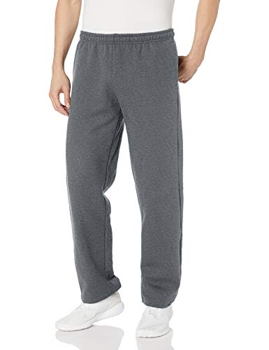 Gildan Men's Big and Tall Fleece Open Bottom Pocketed Pant, Dark Heather, XX-Large