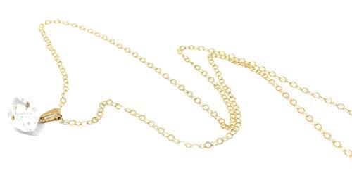 Herkimer Diamond Quartz Necklace,10MM, Herkimer Pendant, 14k Gold Filled, April Birthstone