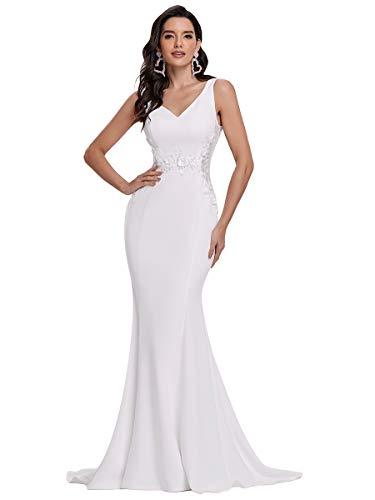 Ever-Pretty Vestido de Novia para Mujer Largo Sirena Corte Imperio Escote en V sin Mangas Apliques Elástico Blanco 48