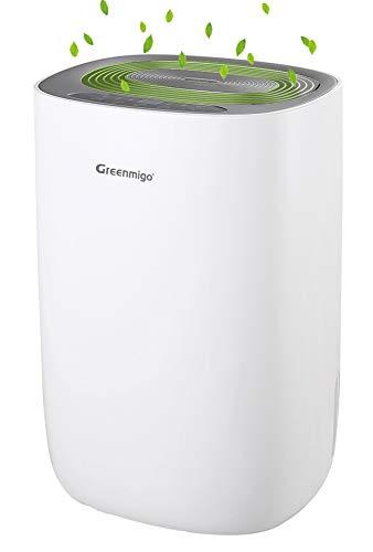 Greenmigo Deshumidificador Eléctrico Portátil 10L/24h con Refrigerante R290,Deshumidificación Continua y Silenciosa,Automático hasta 30m2 para Hogar Dormitorio Cocina Armarios Garaje