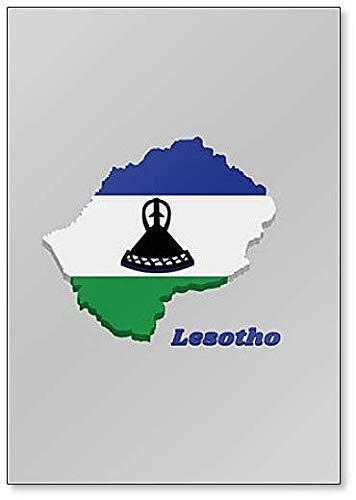 Kühlschrankmagnet, Motiv Karte & Flagge von Lesotho