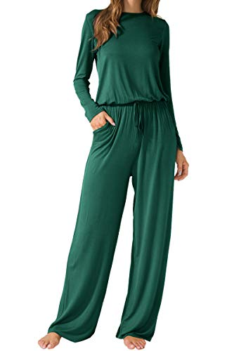 LAINAB Womens Casual Long Sleeves O Neck Wide Legs Playsuits Jumpsuits Green M