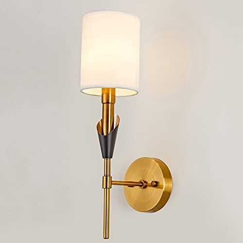 BHJH7 Lámpara de Pared Mid-Century, Aplique de Pared de Oro Cepillado Simple, Luces de Espejo de baño con Pantalla de Tela Blanca, lámpara de Pared Moderna de 18.5 Pulgadas, Soporte E14 cableado para