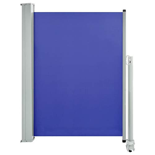 vidaXL Seitenmarkise Ausziehbar Sonnenschutz Sichtschutz Windschutz Seitenrollo Markise Seitenwandmarkise Balkon Garten Terrasse 100x300cm Blau