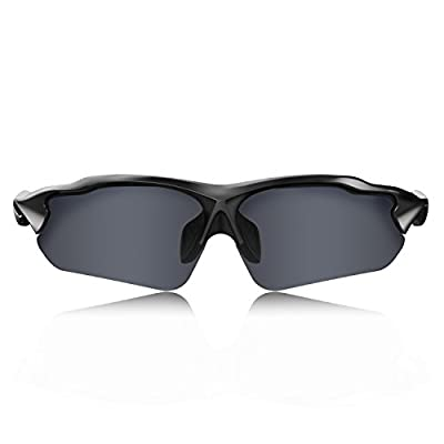 HULISLEM Blade Sport Polarized Sunglasses Sunglasses For Men Women Mens Womens Running Golf Sports (Matte Black-Smoke)