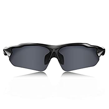 HULISLEM Blade Sport Polarized Sunglasses Sunglasses For Men Women Mens Womens Running Golf Sports  Matte Black-Smoke