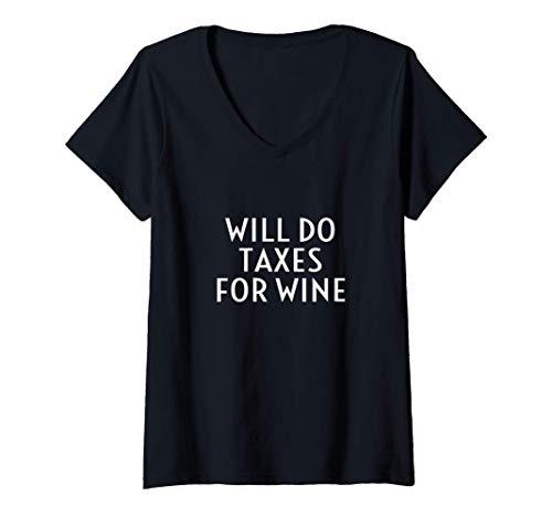 Damen Tut Steuern Für Wein Lustiger Buchhalter Buchhalter Slogan T-Shirt mit V-Ausschnitt