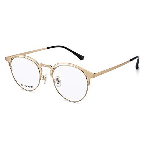 HQMGLASSES Titanio Puro Retro Gafas de Lectura Anti-Azules, progresiva Multi-Foco de la Lente asférica de Resina Lupa Adecuado para Jugar Juegos de/Oficina dioptrías +1,0-+3,0,Oro,+1.0