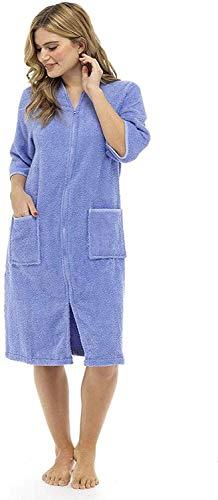 WJDASM Frauen Bademäntel, Baumwolle Bademantel, Reißverschlusstaschen Frauen Leichte Roben für Frauen Geknöpftes oder Zip-Up Handtuch Bademantel für LadiesGreat Zip Handtuch Bademantel