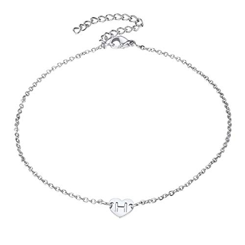 FindChic Heart Chain Anklet, Adjustable Stainless Steel Foot Chain Ankle With Letter Initial H Charm For Girls Women Ankle Personalised Love Heart Anklet