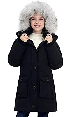 SOLOCOTE Girls Winter Coats Heavyweight Mediun Length Warm Jackets with Removable Fur Collar Hooded Snowsuit, SLN2017 Black 7-8Y