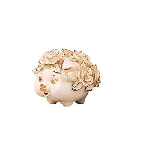 XHAEJ Cerámica Piggy Bank con Flor Piggy Bank Caja de Monedas Smooth Dorchby Hucha