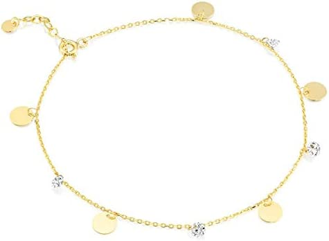 Pre Moon Jewelry 14K Yellow Gold Gemstone Anklet Bracelet with Round Zircons & Gold Coin Charms - Solid Gold Cable Chain - Minimalist Ankle Bracelet for Her(1.8 g, 8.26 in + 2 cm)