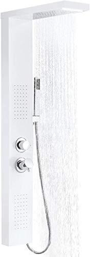 Aufun Duschpaneel Edelstahl Duschsystem mit Regendusche, Wasserfalldusche, Massagedusche, Duschsäule Duschset mit Handbrause für Badewanne Badezimmer Duschbrause, Weiß