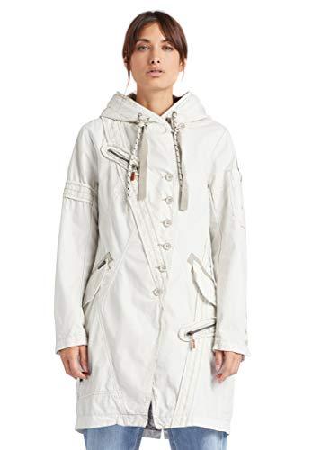 Khujo Zaria - Abrigo corto para mujer, color gris claro Kit L