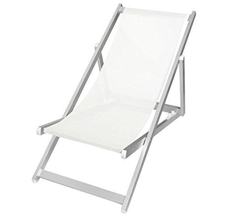 Mediawave Store Sedia Sdraio Pieghevole 3 Posizioni Alluminio MOD. SOVERATO in Textilene (Bianco)