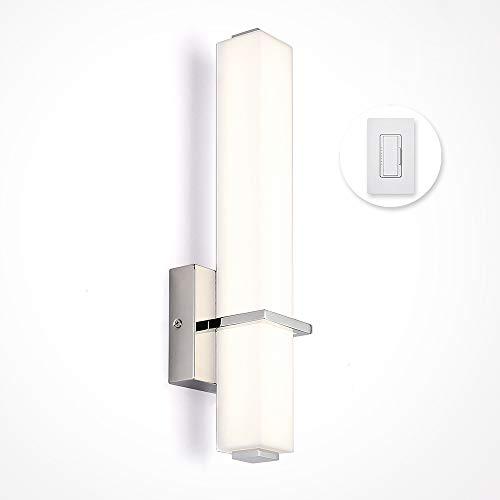 Regulable LED Lámpara de Pared, ARKTIVO Aplique de Pared, de Acero Inoxidable y Acrílico, 4000K, 12W, Instalación Eléctrica o con Enchufe, 2 en 1, Iluminación de pared Para pasillo, baño