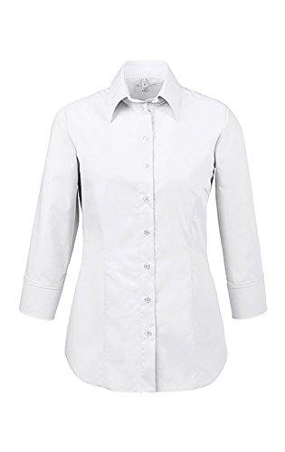 GREIFF Damen Bluse mit Kentkragen | Stretch | 3/4 Arm | Easy-Care | Farbe: Weiß | Größe: 52