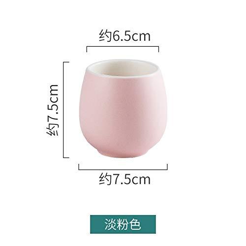 Heliansheng Taza de cerámica esmaltada de Color Taza de té de Flores para el hogar Taza de Leche de café del Hotel Taza pequeña Pareja-Rosa claro-180ml-G023