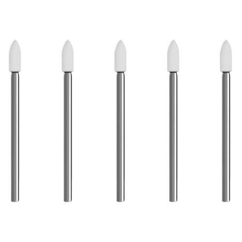 5x Schleifspitze Edelkorund weiß [Ø 4 x 10 mm] Schleifstein für Dremel, Proxxon