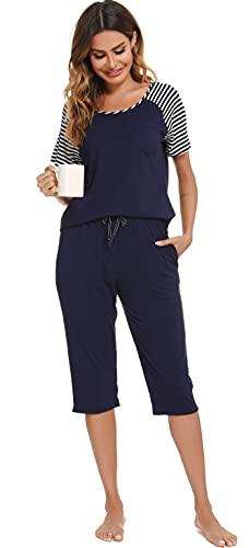 Vlazom Pijama para Mujer Manga Corta Pijama Mujer Verano Ropa de Dormir de Dos Piezas Pijama de Camiseta de Suave, Transpirable + Pantalón S-XXL ,F-Azul oscuro,XXL