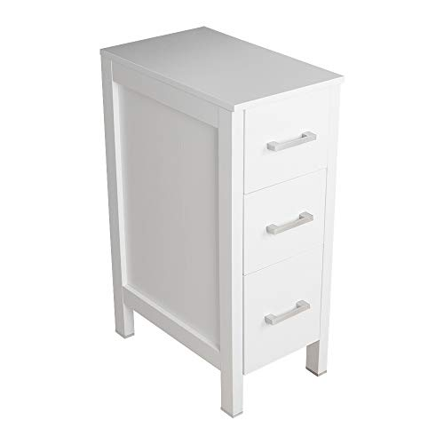 "Bathroom Drawer Organizer,Free Standing Single Vanity,Nightstand,12"" Lx20 Wx30 H, Made of MDF Wood,Vertical Dresser Storage Tower Vanity for Bedroom/Hallwa/Entryway,Self-Assemble,3 Drawers"