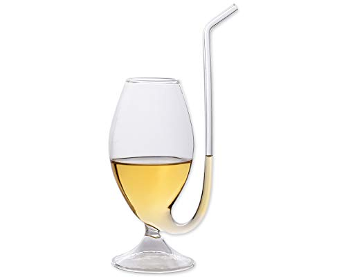 Ace Select Port Glasses 300ml Brandy Pipe Sipping Glass Port Pipe Port Sipper Wine Glass Cup Mug with Drinking Tube Straw