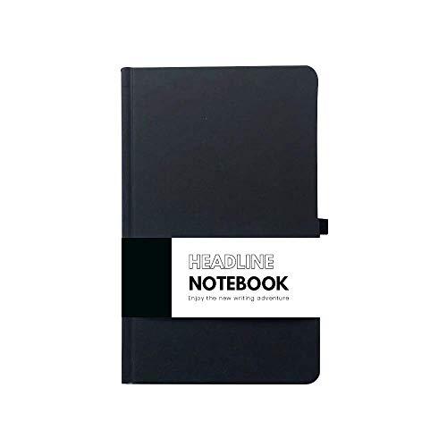 Libreta Headline   Cuaderno clásico pasta dura de cartón negro mate 120 hojas rayadas con micro perforación.