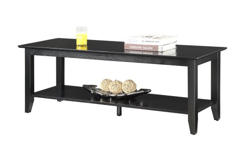 Convenience Concepts American Heritage Coffee Table with Shelf, Black