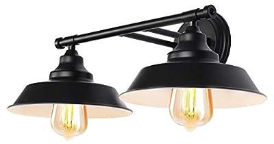 LMSOD 2 Lights Bathroom Vanity Light, Black Vintage Industrial Wall Sconce Lighting Fixture with Metal Shade