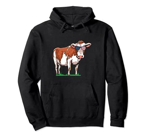 Divertida vaca americana patritica vaca EE.UU. American Beef Sudadera con Capucha