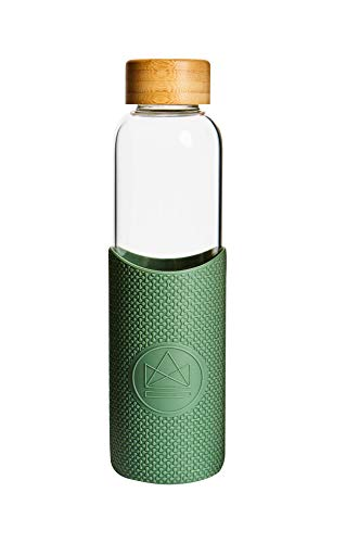 Neon Kactus 550ml | Borosilicate Glass Water Bottle | Food Grade Silicone Sleeve | Fully...