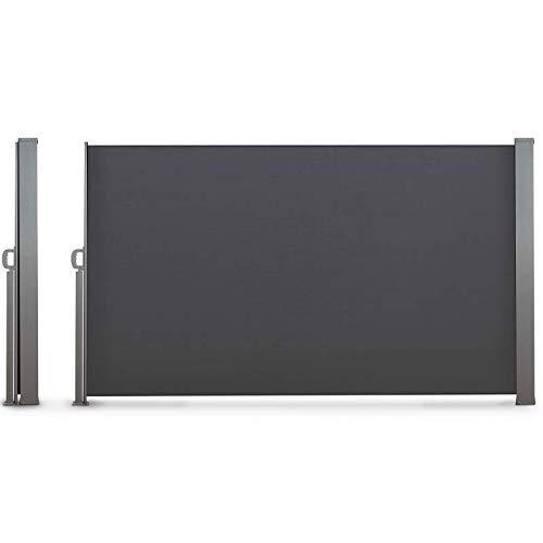 IDMarket - Paravent extérieur rétractable 400 x 160 cm Gris Anthracite Store latéral